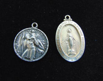2 Vintage Estate Sterling Silver Religious St. Christopher's & Virgin Mary Pendant 7.4g E3796