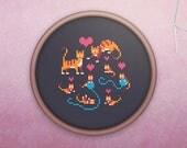 Kawaii Cross Stitch • Modern Cat Cross Stitch Pattern • Cute Kitten Hoop Art • Easy Counted Cross Stitch PDF • Cat Family XStitch Pattern