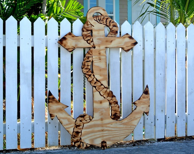 Large Wood Anchor sign. Valentines gift idea. Outdoor Anchor Housewarming gift. Family Oasis sign.