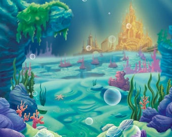 Under The Sea Mermaid Backdrop / Under the sea theme party / Nautical  party / Mermaids theme/ ocean party/little mermaid