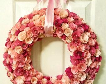 Paper Flower Wreath, Paper Flowers, Home Decor, Wall Decor, Wedding Decor, Baby Nursery, Deco Mesh Wreath alternative