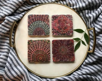 Boho Inspired coasters/stone coasters/ pink coasters/ red coasters/ Bohemian/Medallions