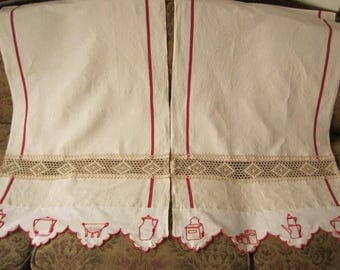 Made To Order: French Style, A Pair Of Antique And Vintage Kitchen Curtains,