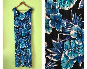 SALE Vintage Long Floral Maxi Dress 1980s Tropical rayon dress Blue White  BOHO HIPPIE summer dress tie back flower dress womens large