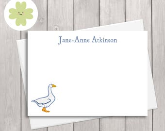 Goose note card stationery set featuring your name in blue