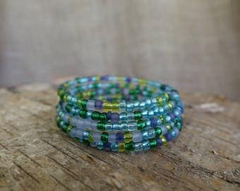 Blue and Green Bracelet, Blue Bracelet, Wrap Bracelet, Coil Bracelet, Beaded Bracelet, Memory Wire Bracelet, Beaded Bangle, No Clasp