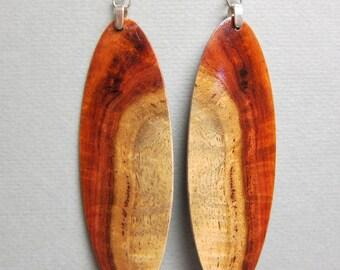 Stunning Exotic Wood Amboyna Burl Xlarge long oval Earrings, surgical steel wires ExoticWoodJewelryAnd handcrafted ecofriendly