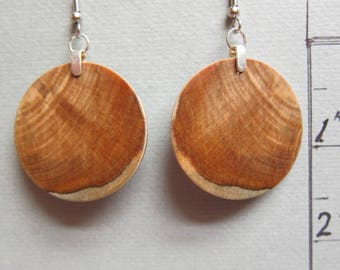 Circle Exotic Wood Exotic Earrings 1.25 inches repurposed Handcrafted ExoticWoodJewelryAnd