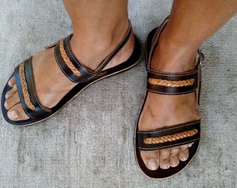 "Leather Sandals for Women Flat Leather Sandal Greek Style COISAS Dark Leather Sandals ""LIZA"" Summer Sandals"