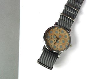 hot GRAY PENCIL WATCH in silver and nylon strap watch blua pencil jewels