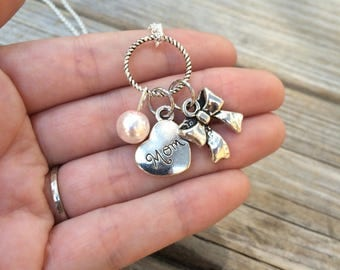Pearl Mom and Bow Necklace, Charm Necklace, Heart Necklace, Necklace, Love Necklace, Gifts for her, Gifts for Mom