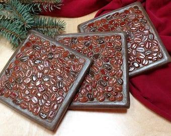 Coffee Coasters set of 3, Birthday or housewarming Gift  coffee bean multi color coaster