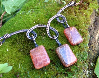 Copper Wire Wrapped Fire Agate Necklace