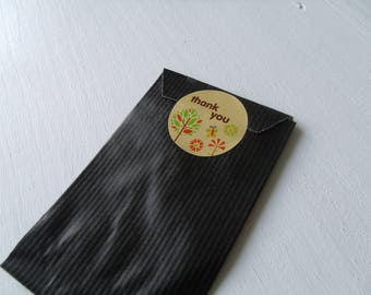 """Beige (light brown) """"Thank You!"""" stickers 3.5 cm (Nature)"""