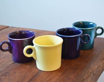 Vintage Fiestaware Mugs, Set of 4 Tom and Jerry Mugs, Homer Laughlin HLC, Plum, Cobalt, Yellow and Peacock