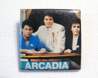 Vintage 80s Arcadia (Duran Duran / Roger Taylor / Nick Rhodes / Simon Le Bon) Pin / Button / Badge