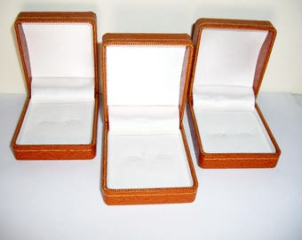 Cuff Link Jewelry Boxes Leather Empty, Set of Three