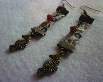 Liberty seahorse earrings beige