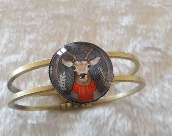 Bangle Bracelet bronze winter reindeer