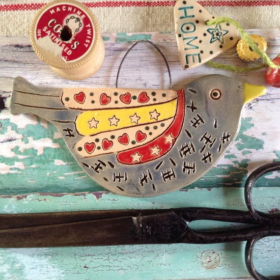 Handmade Ceramic Hanging Bird