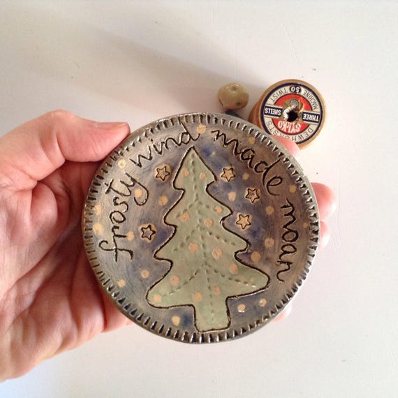 Handmade ceramic tiny plate, christmas theme, coaster, trinket dish, ornament, winter, decoration,