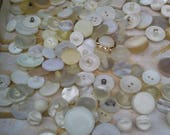 Vintage White Buttons in Bulk/White Buttons with Loop/White Buttons - Assorted/White Buttons Sm., Med. & Lg./Large Lot White Buttons w/Loop