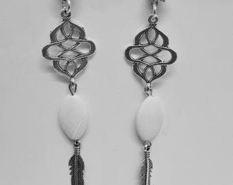 Earrings - feathers, Rhinestones, cables