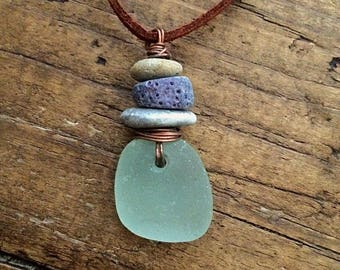 English Sea Glass Necklace, Sea Glass and Beach Stone pendant, suede leather necklace, sea glass choker.