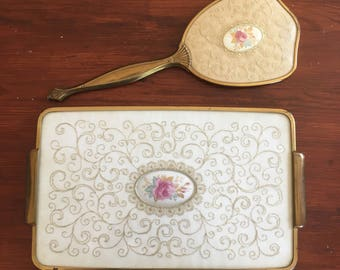 Vintage Vanity Set: Vintage Gold and Cream Rose Mirror and Tray