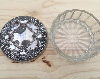 Vintage Powder Puff Box: Silver Plated and Glass Vintage Container Vanity Set Dressing Table Item