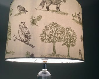 Woodland print lamp shade Forest print with fox stag deer rabbit  drum lamp shade