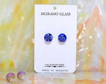 Murano Glass Stud Earrings Millefiori Silver 925