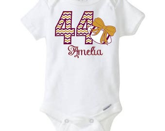 "Personalized Baby Girl's Football Onesie One-piece body suit with ""Chevron"" Number, Name, and Print Color of your choice"
