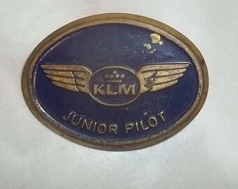 Vintage KLM junior pilot metal pin Royal Dutch Airlines Netherlands