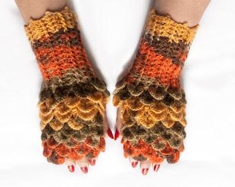 Dragon Gloves, Christmas Gift, Dragon Scale Fingerless Gloves, Halloween,  Crocodile Fingerless Gloves by LoveKnittings