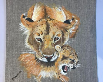 Lioness and Cub Acrylic Painting on Linen Board