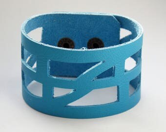 "Blue Leather ""Self_Empowering"" Wrist band.  Reclaimed Leather Cuff Bracelet"
