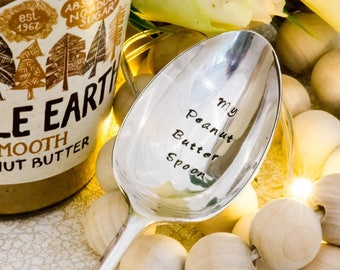 MY Peanut Butter Spoon - Hand Stamped Engraved Spoon - Peanut Butter Gift - Vintage Table Spoon