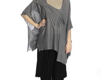 Boho grey linen blouse, XXL size.