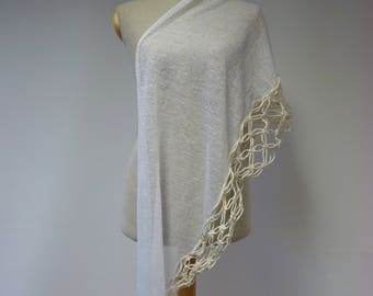 The hot price. White linen scarf. Perfect for gift.