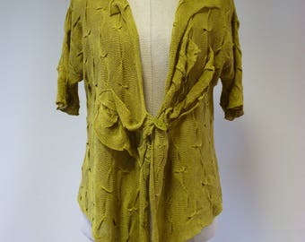 Special price. Artsy lime linen cardigan, M size.