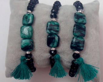 Green stone bracelet and Czech crystal with tassel.