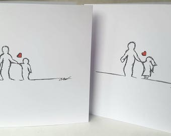 """My Hero - hand drawn Father's Day card. 6""""×6"""" white, blank inside. Customisable with son or daughter, boy or girl."""