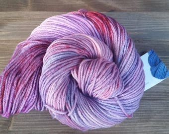 Hand Dyed Yarn, Worsted Weight, 100% Superwash Merino Wool, Pink Red Purple