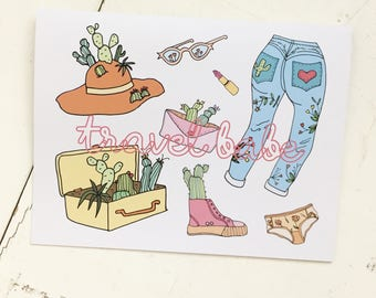 Travel babe cactus greeting card by Cat Caper