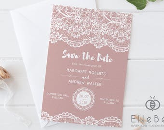 Lace Save The Date Card // Pink Lace Save The Date // Lace Wedding Stationery // Lace Wedding Invites // Kensington Collection // Elle Bee