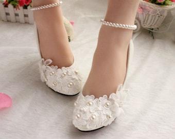 Bridal Wedding shoes white pearl shoes