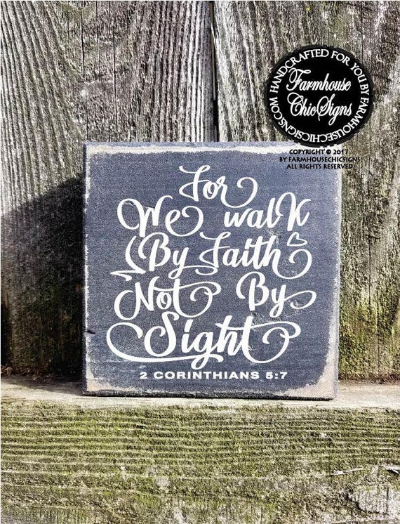 For We Walk By Faith Shelf Sitter Sign