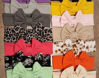 CLEARANCE Jersey  knit headbands bow Headband baby head wrap girls turban headband age 6-12 months Ready to ship