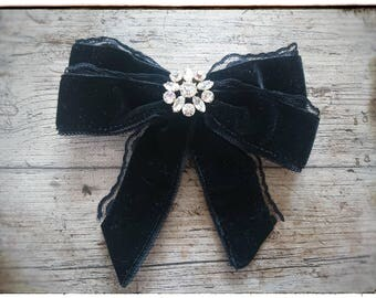 Steampunk ribbon brooch, Victorian women's bow, Gouvernantenschleife, burlesque
